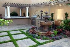 Front Yard Landscaping Ideas with Fountain Design outdoor fountains Front Yard Patio, Small Front Yard Landscaping, Backyard Ideas For Small Yards, Front Yards, Landscaping With Fountains, Garden Fountains, Outdoor Fountains, Landscaping Ideas, Water Fountains