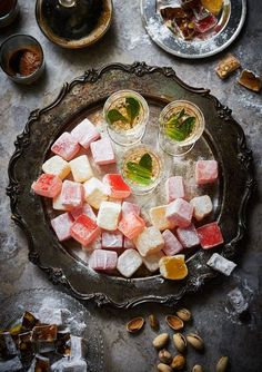 Turkish Delight and Mint Tea on silver tray