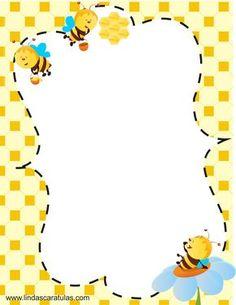 www.lindascaratulas.com: LAS ABEJAS - SOCIEDAD EN LA COLMENA                                                                                                                                                                                 Más Borders For Paper, Borders And Frames, Stationary Printable, Boarder Designs, Buzz Bee, Baby Icon, Kids Background, Page Borders, Bee Party