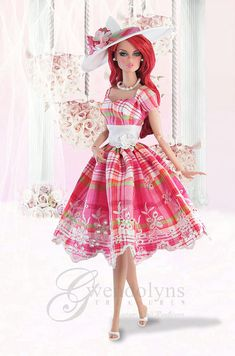 Cute Barbie Retro Dress and Hat Sets Barbie Clothes, Barbie Dolls, Feather Dress, Barbie Dream, Barbie Friends, Barbie And Ken, Retro Outfits, Retro Dress, Vintage Barbie