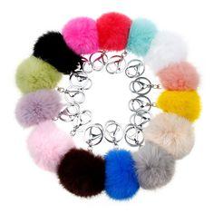 Je Montre Coloré Mignon Véritable En Cuir lapin boule de fourrure porte-clés femmes porta chiavi Sac cadeau argent porte-clés voiture moelleux porte-clés