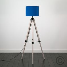 Nautical Style 'Marine' Wooden Tripod Floor Lamp with Blue Drum Shade