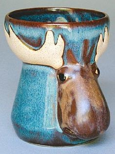 Moose Egg Separator | Pottery and Glass | Shaker Workshops shakerworkshops.com MOOSE EGG SEPARATOR Moose Deer, Moose Mug, Country Living Decor, Northern Exposure, Face Jugs, Deer Family, Pottery Designs, Pottery Mugs, Antlers