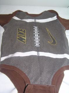 Infant Baby Undershirt Nikes 3-6 months Brown Football Short Sleeve #Nike #Everyday