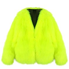 Chicnova Fashion Fluorescence Faux Fur Coat (€60) ❤ liked on Polyvore featuring outerwear, coats, jackets, fur, faux fur coat, long sleeve coat, fake fur coats, faux coat and green faux fur coat