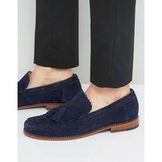 Grenson Grayson Suede Tassel Loafers ($185) via Polyvore featuring men's fashion, men's shoes, men's loafers, navy, mens navy suede shoes, mens suede shoes, mens slip on shoes, mens slipon shoes and suede tassel loafers mens shoes
