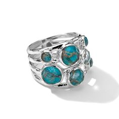 Reis-Nichols Jewelers : IPPOLITA Sterling Silver Rock Candy Constellation Ring in Bronze Turquoise Doublet
