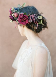 Desert Wedding Inspiration from Ghost Ranch Floral Retreat Wedding Sparrow Heather Hawkins Photography Flower Crown Wedding, Bridal Flowers, Flowers In Hair, Floral Wedding, Flower Crowns, Bridal Crown, Corona Floral, Romantic Updo, Spring Wedding Colors
