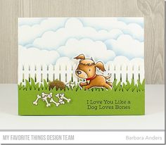 Puppy Pals Stamp Set and Die-namics, Picket Fence Die-namics, Grassy Fields Die-namics, Mini Cloud Edges Stencil - Barbara Anders #mftstamps