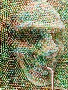"""Publicis's Nestea Drinking Straw Sculpture: Created by Publicis Argentina for Nestea. It was part of the advertisement with slogan """"Eres lo que tomas,"""" or """"You are what you drink.""""   http://www.crookedbrains.net/2010/01/design.html"""