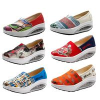 Graffiti Canvas Shoes For Women  Rocking Wedge Sneakers Flats Loafers Rocking Swing  Wedge Shoes Height Increasing Breathable