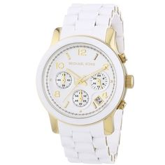 FLASH SALE! MK Chronograph White & Gold Watch Women's Chronograph Runway White Polyurethane and Gold-Tone Bracelet Watch MK5145.  Like-new condition.  Worn 5 times.  All original links included with box, tags and booklet.  Needs new battery. Michael Kors Accessories Watches