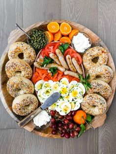The Big Board Archives - Reluctant Entertainer Chicken Breakfast, Sausage Breakfast, Breakfast Recipes, Charcuterie And Cheese Board, Cheese Boards, Lox And Bagels, Party Food Platters, Bagel Recipe, How To Cook Sausage