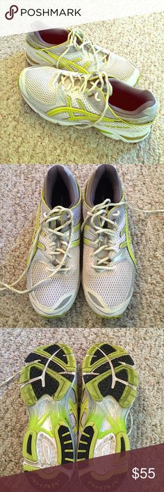 ASICS gel da trainer size 9.5 women's ASICS gel DS trainer running shoe 9.5. White and yellow/lime colored. Only worn for one 5K race. Excellent condition!! asics Shoes Sneakers