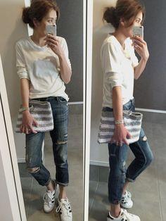 sayaka|ZARAのデニムパンツを使ったコーディネート - WEAR Autumn Fashion, Spring Fashion, Denim Fashion, Womens Fashion, Model Street Style, Japanese Fashion, Jeans Style, Her Style, Boyfriend Jeans