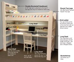 Loft Bed & Bunk Bed Accessories Desk Bookshelf Headboard Clothes Rack Towel Bar// ideas for basement area..