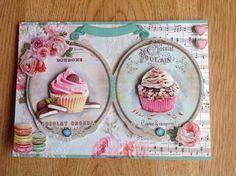 3D card with cupcakes - 3D kaart met cupcakes