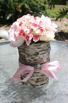 Birch Bark w/Pink Flowers, Buttons and Ribbon :  wedding birch bark wedding decor