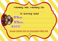 Free Printable Monkey Birthday Invitation Awesome Mrs This and that Curious George Birthday Party Curious George Invitations, Monkey Invitations, 1st Birthday Party Invitations, Birthday Ideas, Birthday Parties, Diy Birthday, Birthday Celebration, Birthday Book, Birthday Template