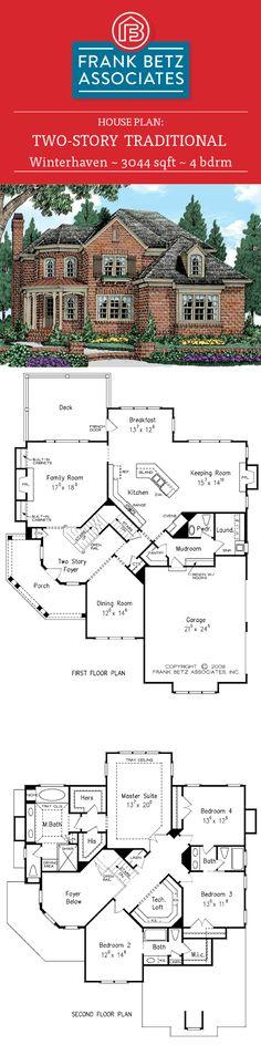 Winterhaven: 3044 sqft, 4 bdrm traditional house plan design by Frank Betz Associates Inc.