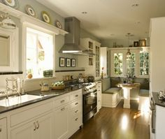 Traditional Galley Style Teal kitchen, white cabinets, Warwick Group,