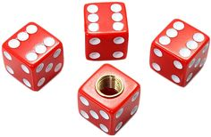 "Amazon.com : (4 Count) Cool and Custom ""Cube Playing Dice with Easy Grip Design"" Tire Wheel Rim Air Valve Stem Dust Cap Seal Made of Hardened Rubber {Elegant Jaguar Red and White Colors - Hard Metal Internal Threads for Easy Application - Rust Proof - Fits For Most Cars, Trucks, SUV, RV, ATV, UTV, Motorcycle, Bicycles} : Sports & Outdoors"
