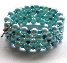 Aqua Blue Pearl Memory Wire Bangle Bracelet by beadingshaz on Etsy