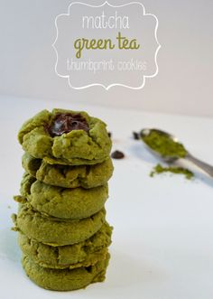 Matcha Green Tea Thumbprint Cookies   Plaid & Paleo