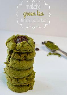 Paleo Matcha Green Tea Thumbprint Cookies by Plaid and Paleo. #paleo