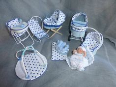 DOLLS HOUSE MINIATURE OOaK Baby and 7 Piece BABY NURSERY SET