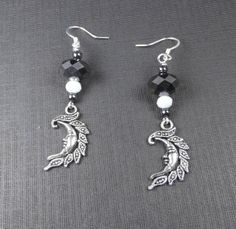 Moonlit Nights  Black and white moon by TheBeadedButterfly on Etsy, $10.00