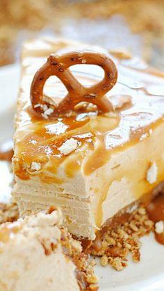 No Bake Dulce de Leche Peanut Butter Cheesecake with pretzel crust