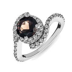 1.60 Carat tw Smokey Quartz & White Sapphire Ring in Sterling Silver