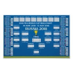 Wallchart FIFA 2018 World Cup Russia PDF Poster Sport Football, Football Players, Printable Brackets, Football Calendar, Emerald Green Arborvitae, Football Updates, Soccer Birthday Parties, Match Schedule, Printable Wedding Programs