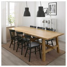 IKEA - NORRARYD, Chair, black, You can easily find your own favorite position thanks to the chair's generous design. You sit comfortably thanks to the chair's shaped back and seat. Ikea Dining Table, Dining Chairs, Oak Table And Chairs, Natural Wood Table, Ikea Chair, Egg Chair, Cool Chairs, Dining Room Design, New Furniture