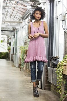 Satori is knit in cotton/silk blend Papyrus.  Equal parts feminine and funky.