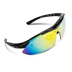 5d2770246c3 RIVBOS 806 POLARIZED Sports Sunglasses with 5 Set Interchangeable Lenses  for Cycling Black   Click on