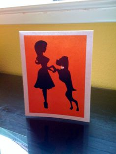 Boxer and Pin Up Silhouette Blank Note Card