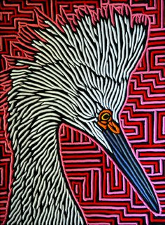 Snowy Egret painted woodcut block on salvaged Douglas Fir x Lisa Brawn 2014 Woodcut Art, Linocut Prints, Acid Art, Jr Art, Linoprint, Wildlife Art, Gravure, Art Lessons, Printmaking
