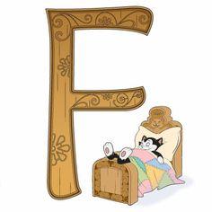 Disney Alphabet - F for Figaro Disney Alphabet, Alphabet For Kids, Alphabet Print, Alphabet And Numbers, Disney Dream, Disney Love, Disney Art, Disney Pixar, Disney Stuff