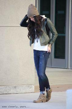 hooded shirt: c/o enemychic boutique bomber jacket: c/o stylesaysshop jeans: hudson jeans booties: steve madden beanie: dakine (similar) watch: thrifted (similar)