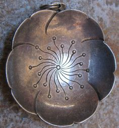 Unusual Antique Vintage European Sterling Silver Flower Floral Pendant Necklace Nouveau Deco Inspired