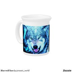 Blue wolf face beverage pitchers