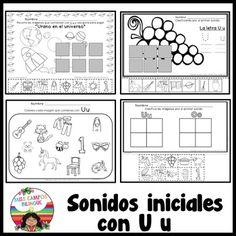 palabras con Letra U u y las vocales A E I O U Trabajos de aula pra nivel preescolar y kinder bilingue. Spanish alphabet, spanish vowel letter u