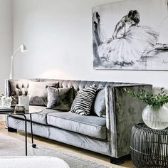 Super luxe grey velvet sofa! Obsessed! The tones future inspo for us here at @oliveetoriel. But let's add the sofa to the the 'needs' list for now. Styled by @introinred by oliveetoriel