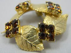Vintage gold tone Leaf motif brooch brown by VogelHausVintage, $6.00
