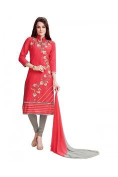 Office Wear Red & Grey Salwar Suit  - BEFIKRE1007