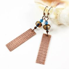 Handcrafted Textured Copper Earrings with Czech Glass on Niobium Ear Wires by SolanaKaiDesigns on Etsy! $32   @solanakaidesign #Copper #earrings #niobum #handcraftedjewelry #SolanaKaiDesigns #Etsy