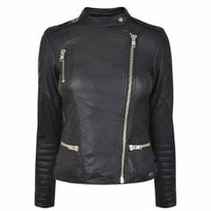 MAISON SCOTCH Leather Embroidered Jacket