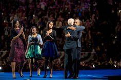 President Obama embraces Vice-President, Joe Bidden.